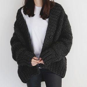 Vintage black chunky boyfriend cardigan sweater L